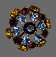 Crystal brooch with amber yellow and pink crystals