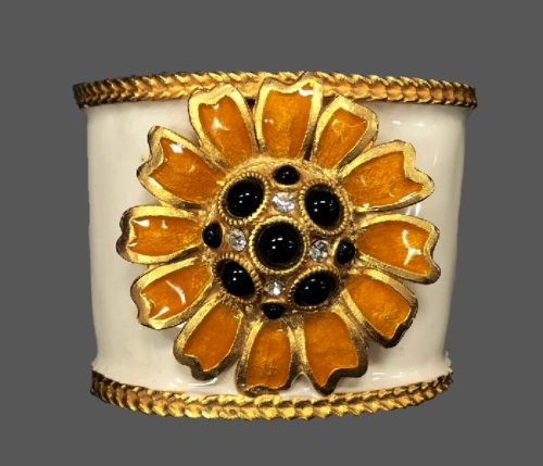 Daisy enameled cuff with glass cabochons and rhinestones. 1991