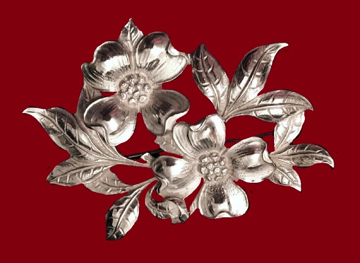 Dogwood Flower Sterling Silver Brooch
