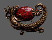 Dragon brooch. Jewelry alloy, crystals, cabochon. 8.5 cm