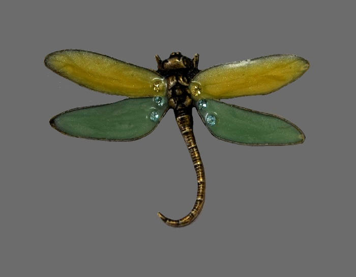 Dragonfly enameled brooch