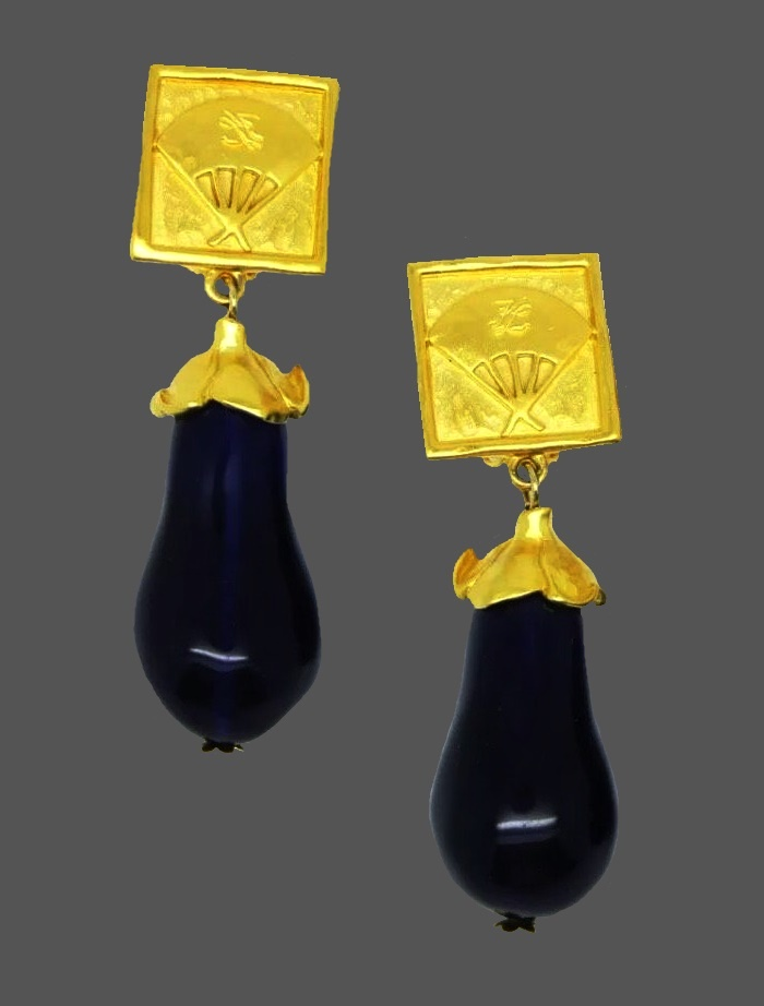 Eggplant clips from the 'vegetable' series. 24k gilding, lucite