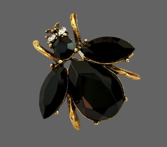 Elegant insect brooches. Jewelry alloy of gold tone, crystals, rhinestones, black cabochons