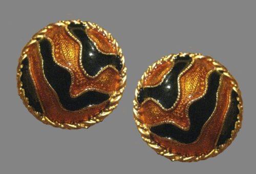 Enameled gold tone button earrings. 1990s
