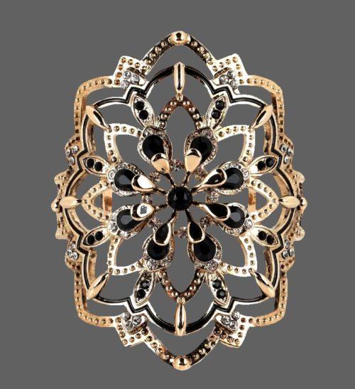 Exquisite gold tone bracelet, black cabochons, crystals, rhinestones