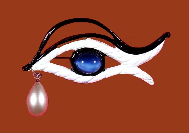 Eye dangle brooch pin. White and black enamel, faux pearl and cabochon