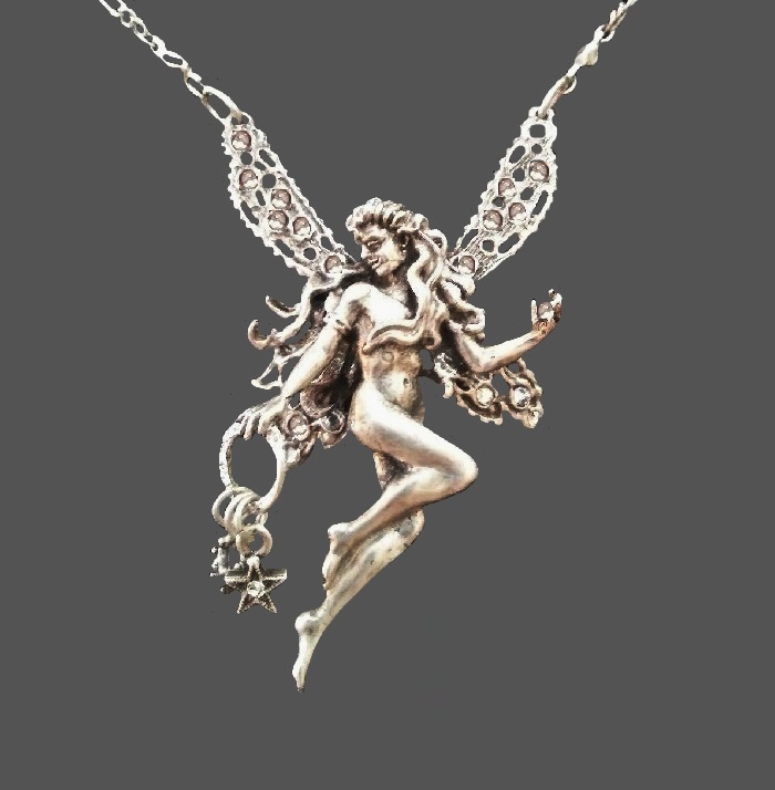 Fairy pendant necklace, silver tone