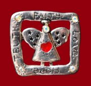 Faith, truth, love and hope signed silver tone angel brooch decorated with crystals