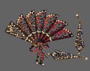 Fan brooch and earrings. Filigree silver tone metal, rhinestones