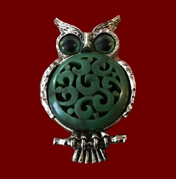 Fat Owl pendant. Silver tone jewelry alloy, plastic