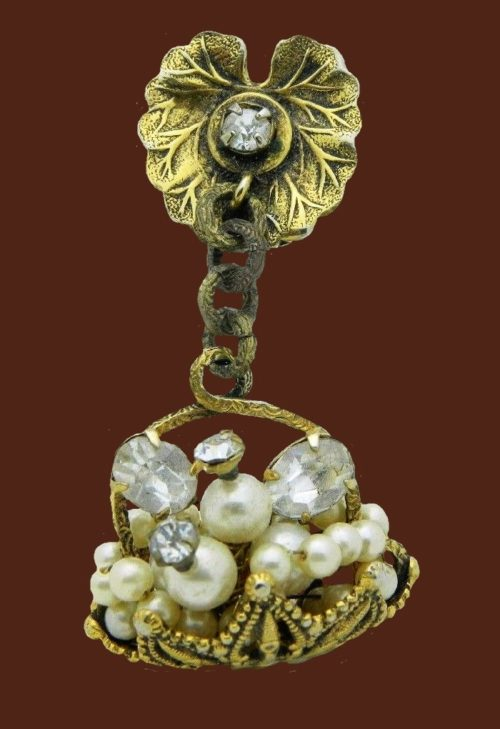 Faux pearl and rhinestone floral basket dangle brooch. 1950s