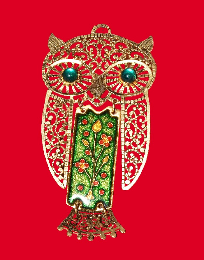 Filigree Owl enameled gold tone pendant