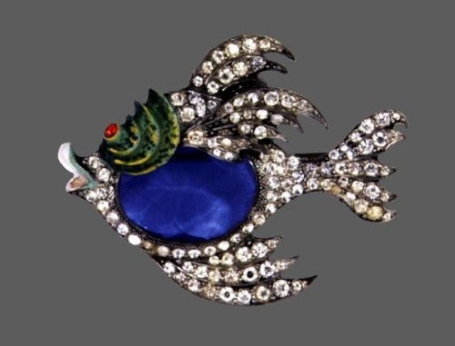 Fish brooch. Pot metal, blue crystals, green enamel, rhinestone pave. 7 cm. 1941