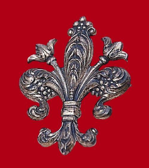 Fleur-de-lis sterling brooch
