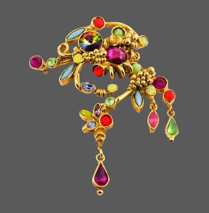 Floral design large brooch. 9 cm. Jewelry alloy, cabochons, crystals