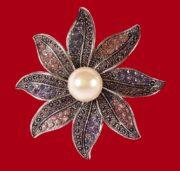 Flower brooch. Silver plated, faux pearls, rhinestones