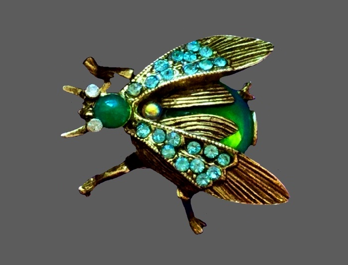 Fly brooch. Jewelry alloy, cabochons, rhinestones