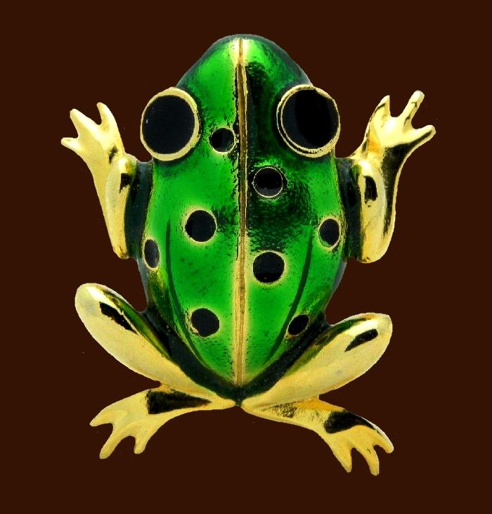 Frog brooch. Green and black enamel, gold tone