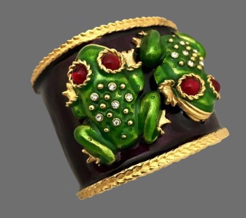 Frog cuff. Gold tone jewelry alloy, rhinestones, enamel. The Autumn Pond Collection, circa Fall '91