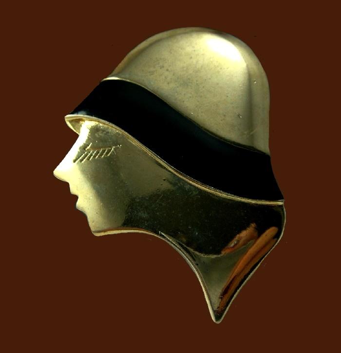Gatsby girl brooch. Gold tone, black enamel