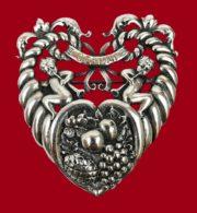 Gemini Zodiac sign heart Cornucopia shaped brooch of 925 Sterling Silver