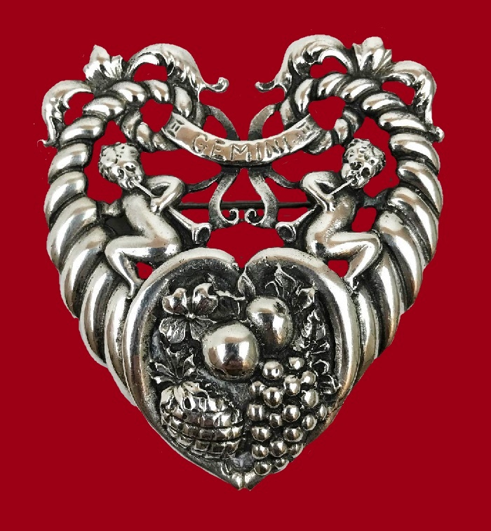 Gemini Zodiac sign heart Cornucopia shaped brooch of 925 Sterling Silver