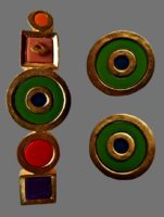 Geometric shape circles and squares brooch and clips. Gold tone metal, enamel