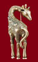 Giraffe brooch of silver tone, decorated with Swarovski crystals
