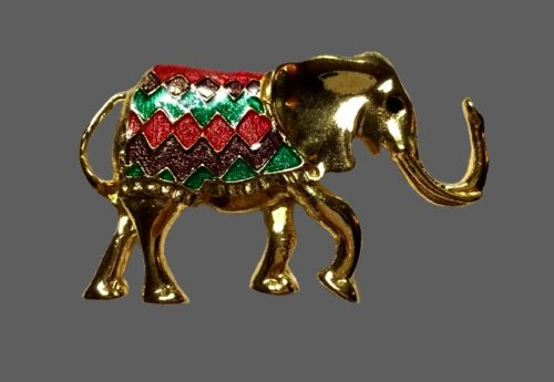 Gold tone Elephant brooch