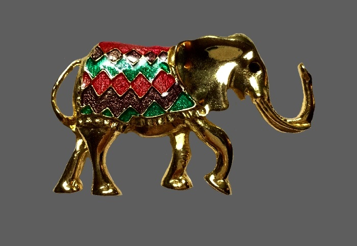 Gold tone Elephant brooch