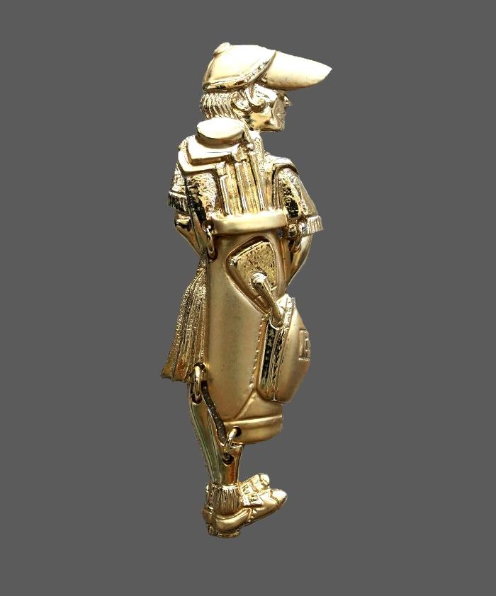 Golfer gold tone brooch