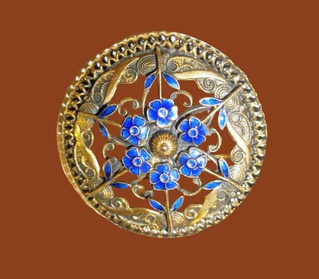 Gorgeous blue enamel flowers round shaped brooch