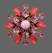 Gorgeous pink brooch. Gold tone jewelry alloy, pink glass cabochons, crystals