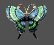 Green and blue enamel butterfly brooch