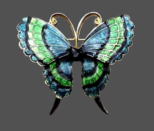 Green and blue enamel butterfly brooch