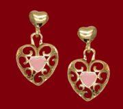 Heart earrings. Gold plated, pink enamel