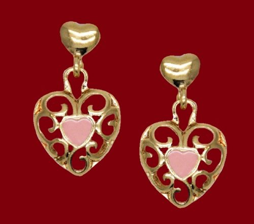 Heart earrings. Gold plated, pink enamel