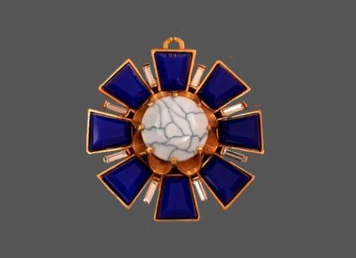 Heraldic pendant. 1990s. Gold tone jewelry alloy, purple enamel, glass