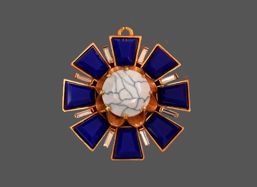 Heraldic pendant. 1990s. Gold tone jewelry alloy, purple enamel, glass