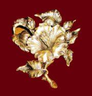 Hibiscus flower brooch, sterling silver