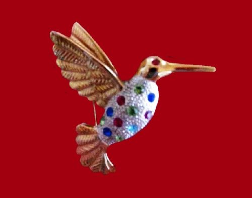 Hummingbird brooch. Gold and silver tone alloy, rhinestones