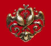 Kissing bird couple sterling silver brooch