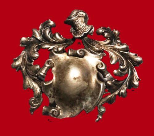 Knight shield sterling silver brooch