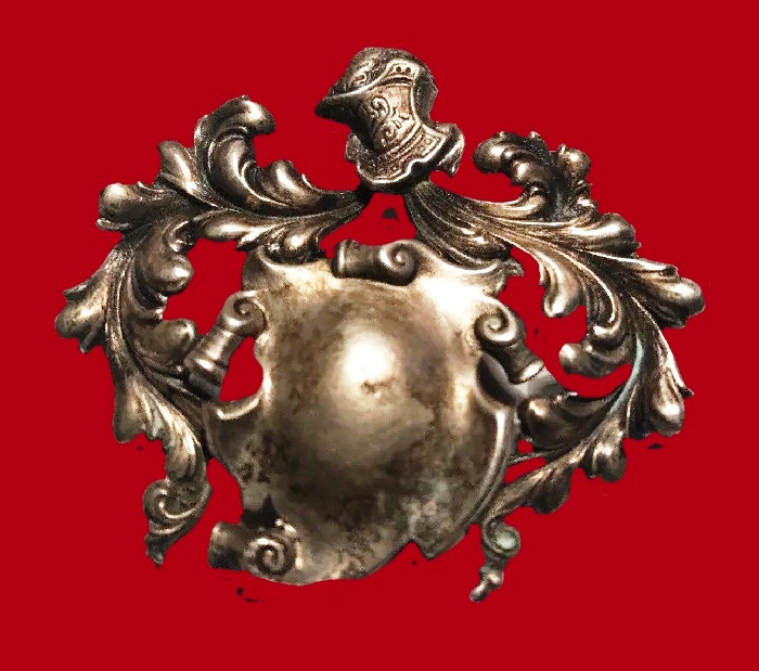 Knight shield sterling silver brooch