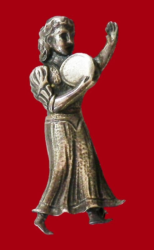 Lady with Disc sterling silver brooch