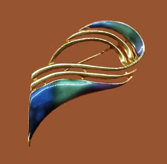 Large green and blue enamel brooch. 1997