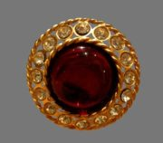 Large red cabochon, clear crystals gold tone round brooch