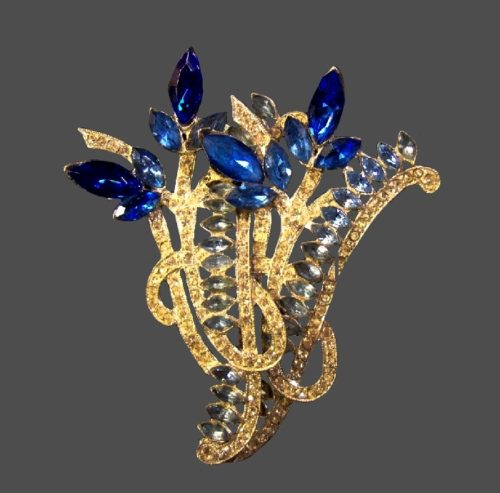 Light and dark blue rhinestone floral design brooch