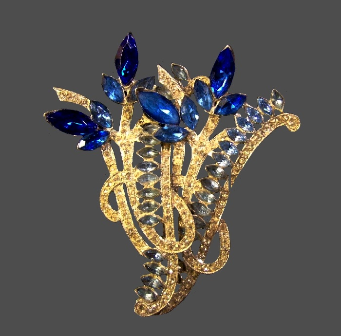 Light and dark blue rhinestone floral design brooch