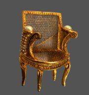 Louis Chair brooch metal, gilding, pearls, 12 cm
